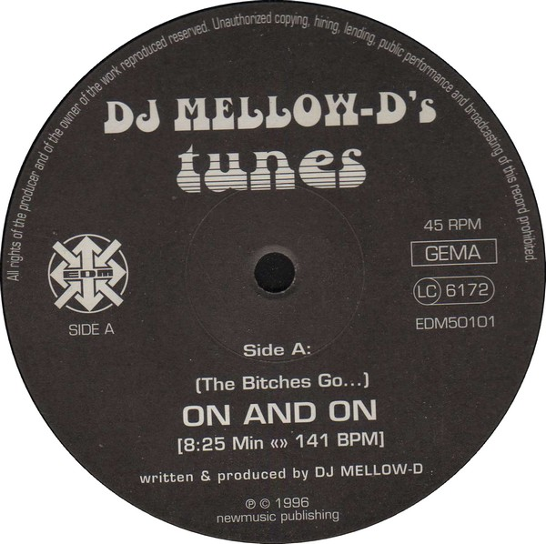 DJ Mellow-D's Tunes ‎– On And On / Paradise